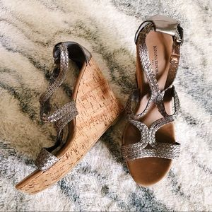 Banana Republic Silver Strappy Wedges